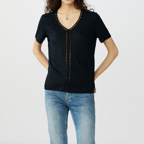 Linen t-shirt with perforated details : T-Shirts color Navy