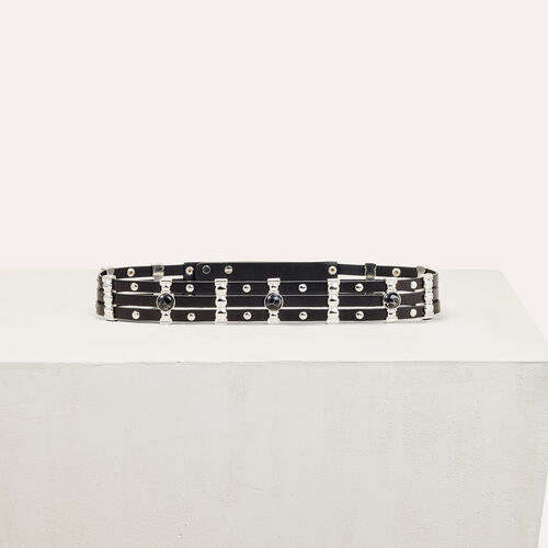 Leather belt with stones : Belts color Black 210