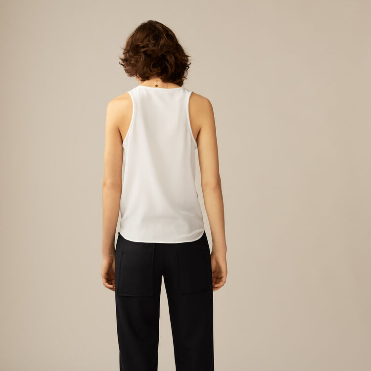 Silk tank top : Tops color ECRU