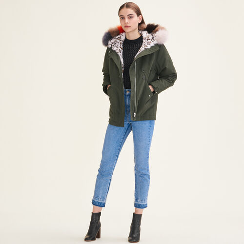 Reversible printed fur parka - Coats - MAJE