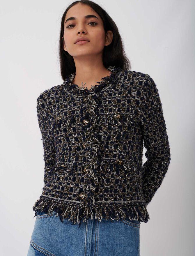 Fancy lurex knit cardigan -  - MAJE