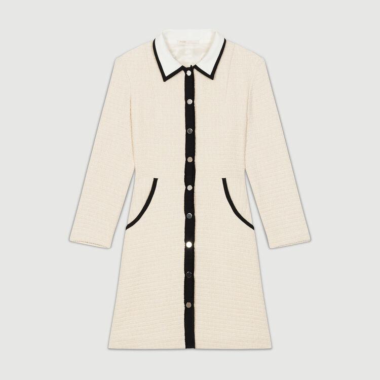 Short tweed effect skirt : Dresses color Ecru