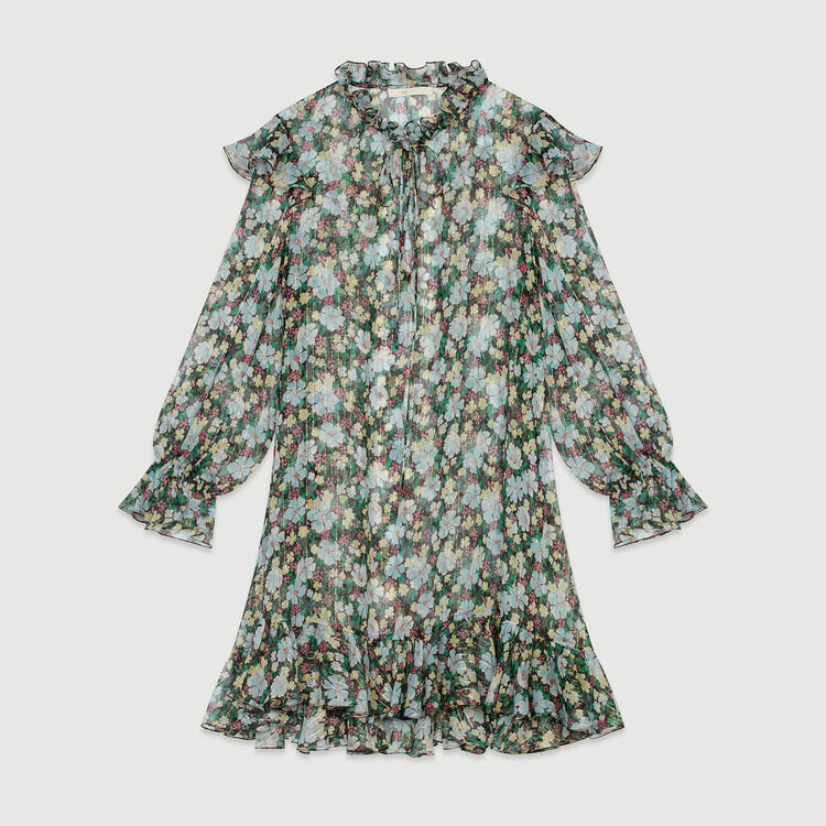 Short dress with ruffles : Dresses color Printed