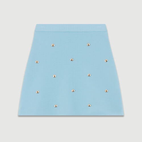 Skirt with embroidered bees : Skirts & Shorts color Blue Sky