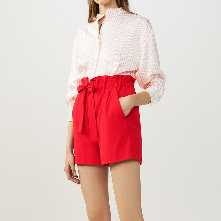 Crepe shorts with belt : Skirts & Shorts color Red