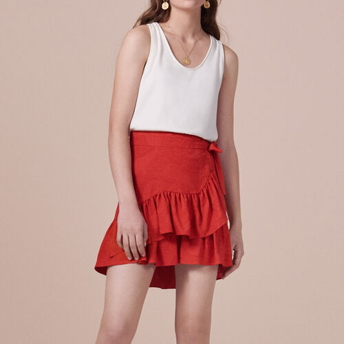 Wraparound skirt with frills : See all color Red
