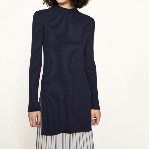 Ribbed knit fitted jumper : Sweaters & Cardigans color Navy