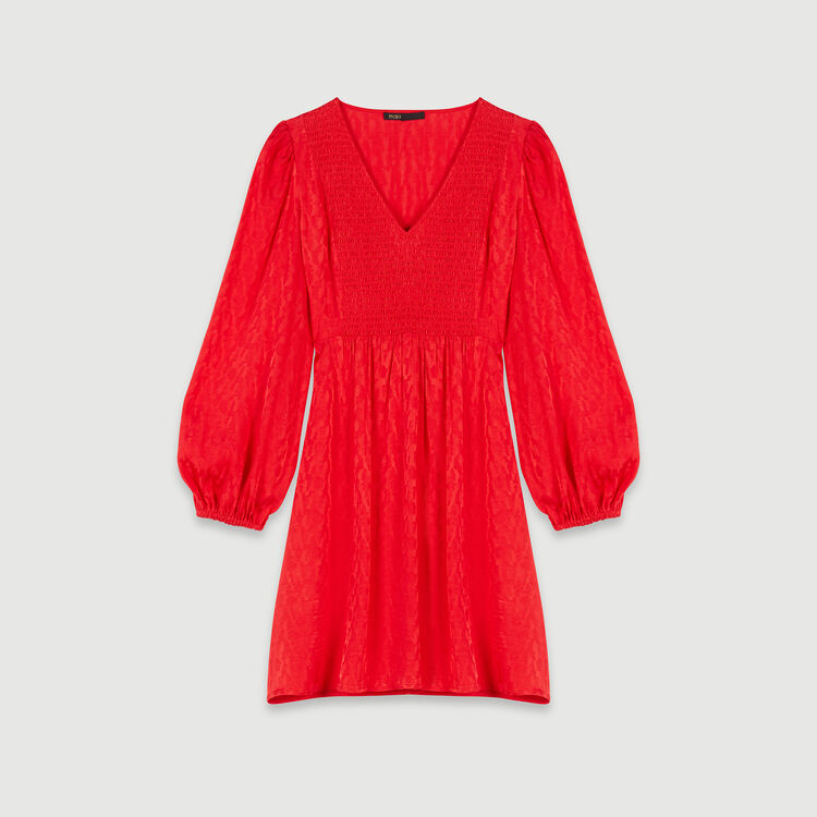 Jacquard satin smock dress : Winter collection color Red