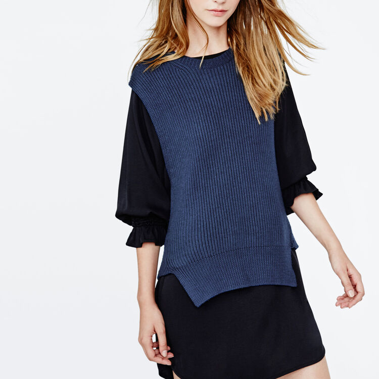 Sleeveless wool sweater : Low Prices color Navy