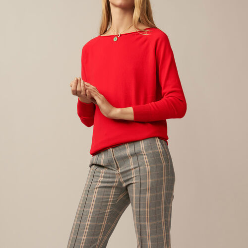 Jumper with low neckline at the back : Sweaters & Cardigans color Ecru