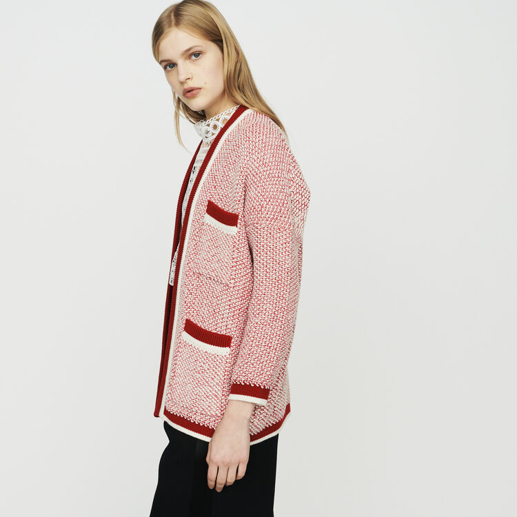 Mid-length cardigan in bicolor wool : Pullovers & Cardigans color Red