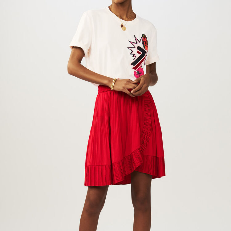 Short pleated wrap skirt : Skirts & Shorts color ROUGE