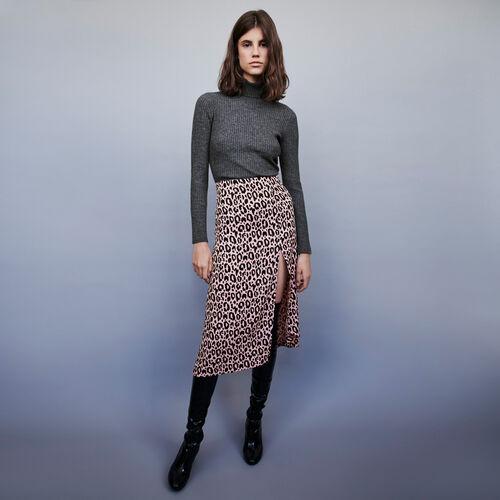 Jacquard-printed split skirt : Skirts & Shorts color Pink