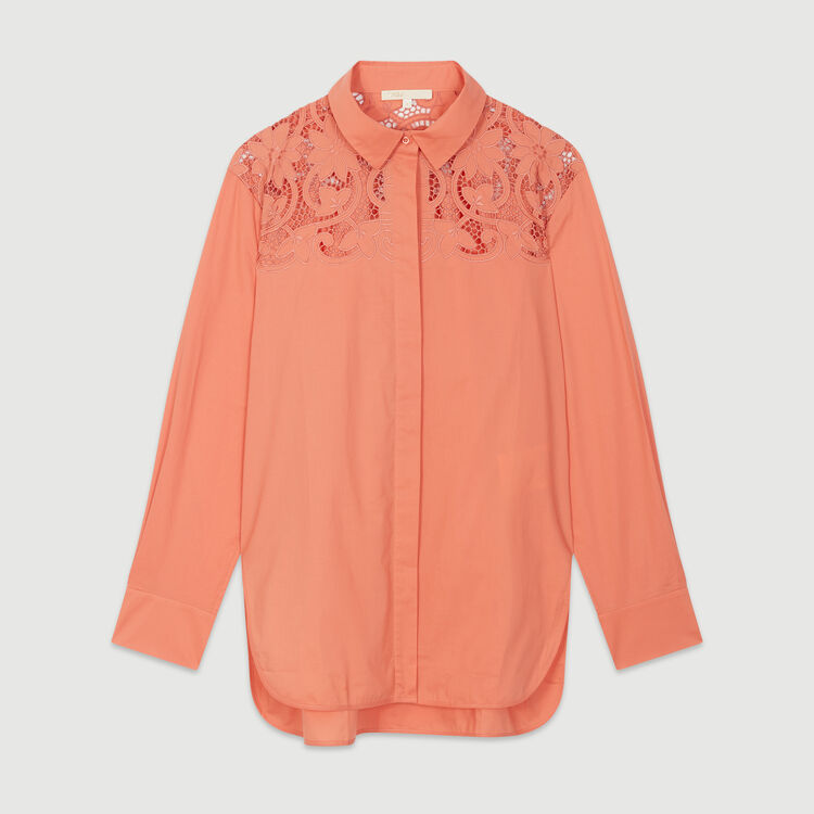 Guipure top : Shirts color Coral