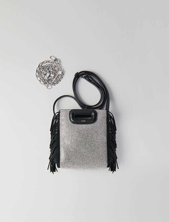 Mini suede and strass M bag - M Mini - MAJE