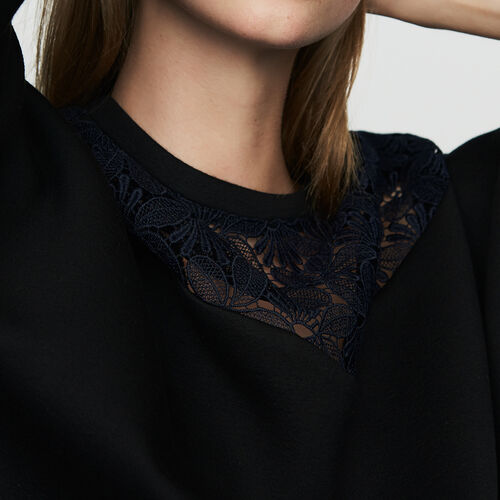 Lace sweatshirt : Sweatshirts color Black 210