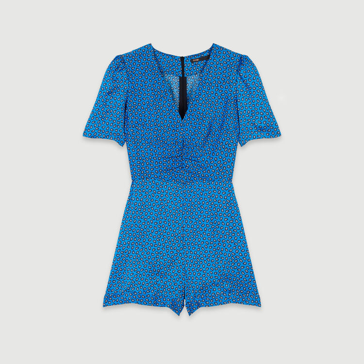 Printed satin playsuit : Winter collection color Blue
