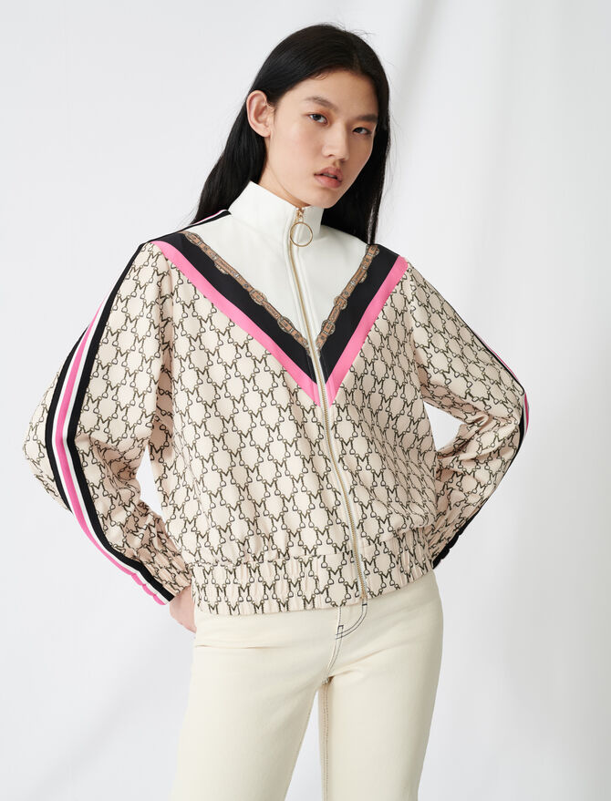 Zip-up sweatshirt with all-over monogram - Pullovers & Cardigans - MAJE