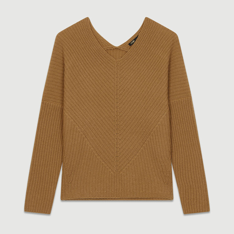 Oversize cashmere sweater : Knitwear color Camel