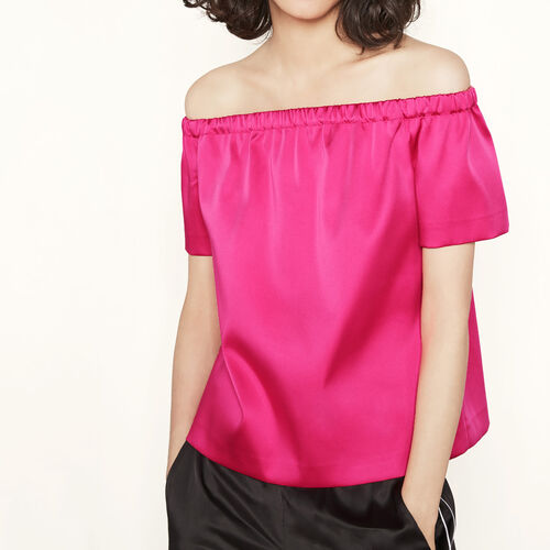Satin off-the-shoulder top : Tops color Fuschia