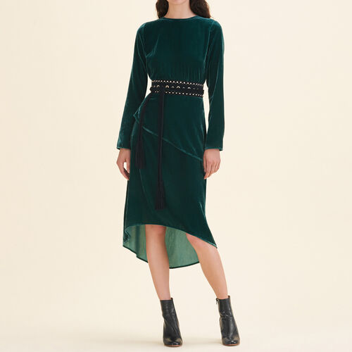 Long velvet dress - Dresses - MAJE