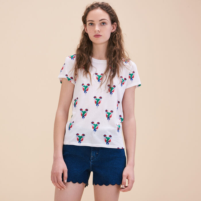 Parrot print T-shirt -  - MAJE