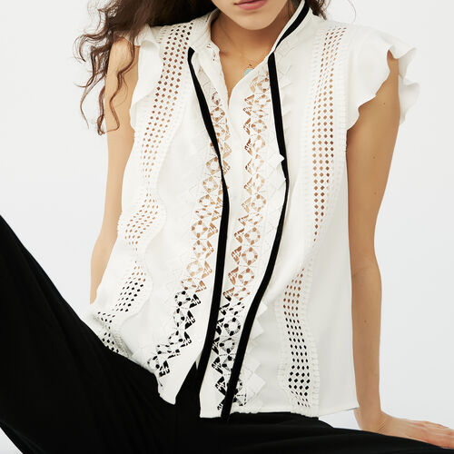 Top with a tied ribbon fastening : Tops color Ecru
