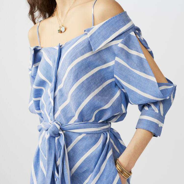 Striped cold-shoulder shirt dress - See all - MAJE