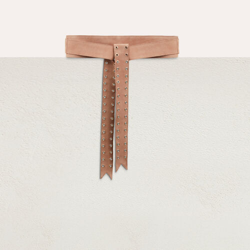 Suede belt with eyelets : Belts color Black 210