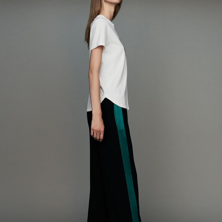 Wide bicolor pants : New Collection color Black 210