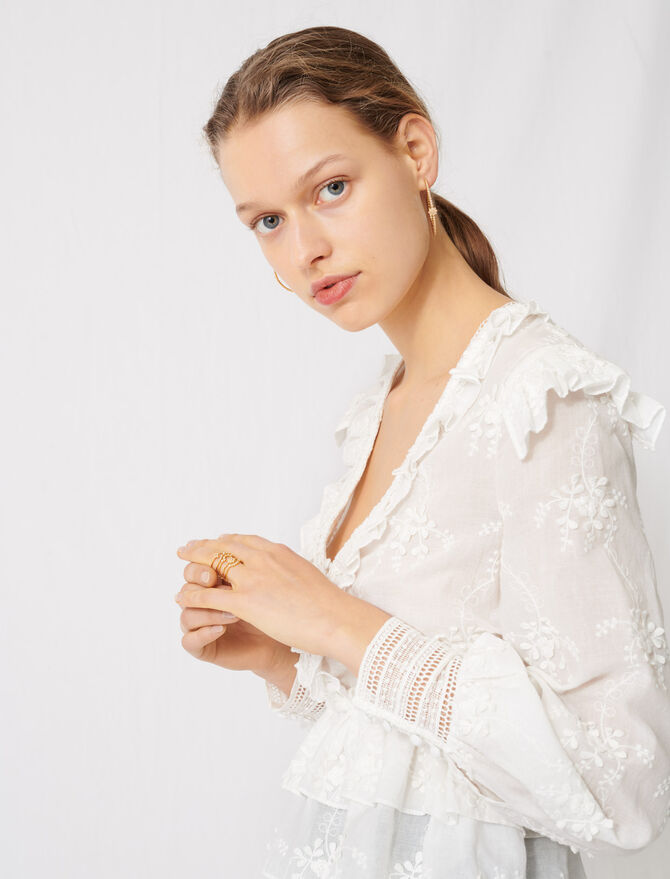 Broderie anglaise top - Tops & Shirts - MAJE