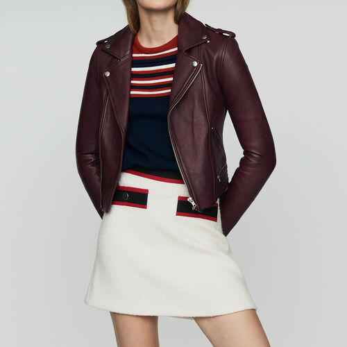 Leather jacket : Ready to wear color Burgundy