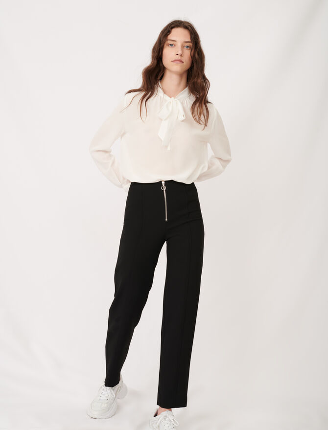 Recycled polyester straight cut trousers - Trousers & Jeans - MAJE