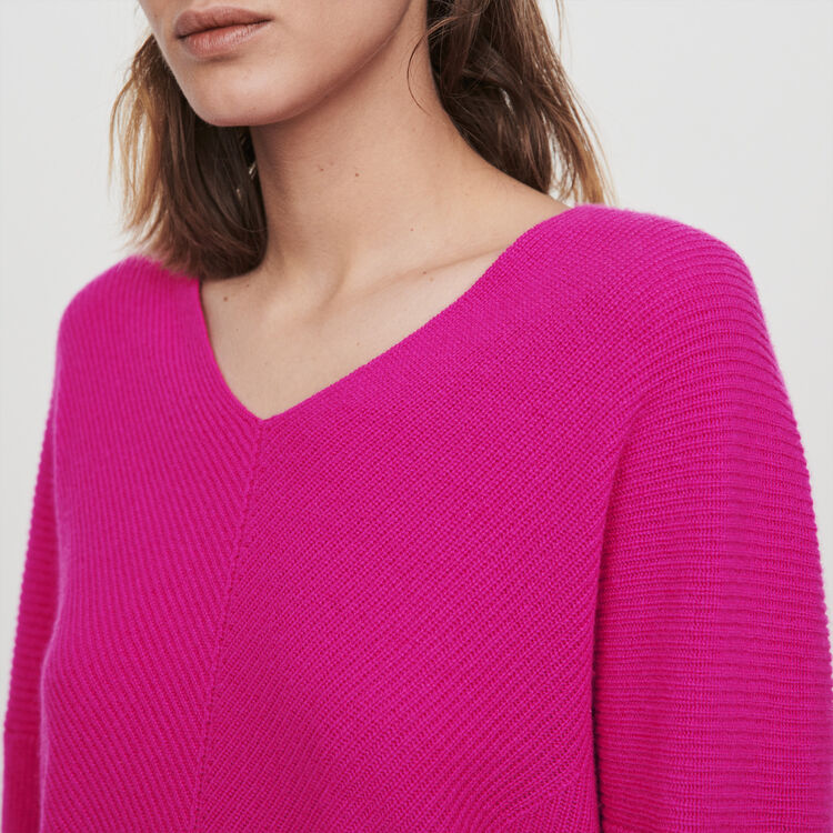 Cashmere V-neck sweater : Winter collection color Purple