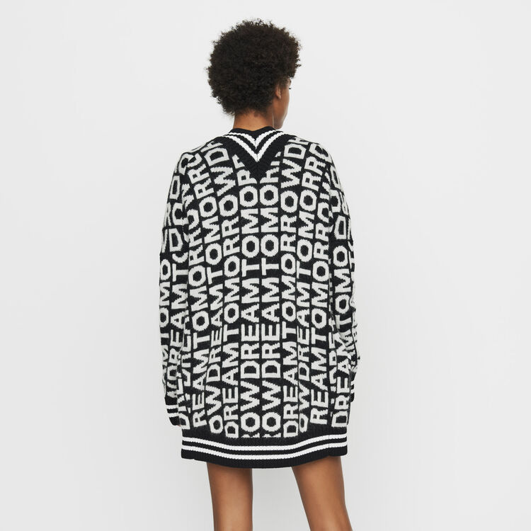 Oversize cardigan in novelty knit : Ready to wear color Black 210