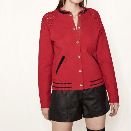 Bomber-jacket style knitted cardigan : Sweaters & Cardigans color Red