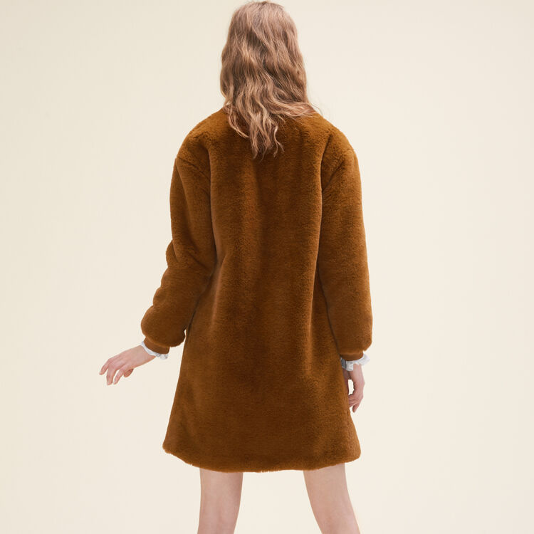 Faux fur coat : Coats color Caramel
