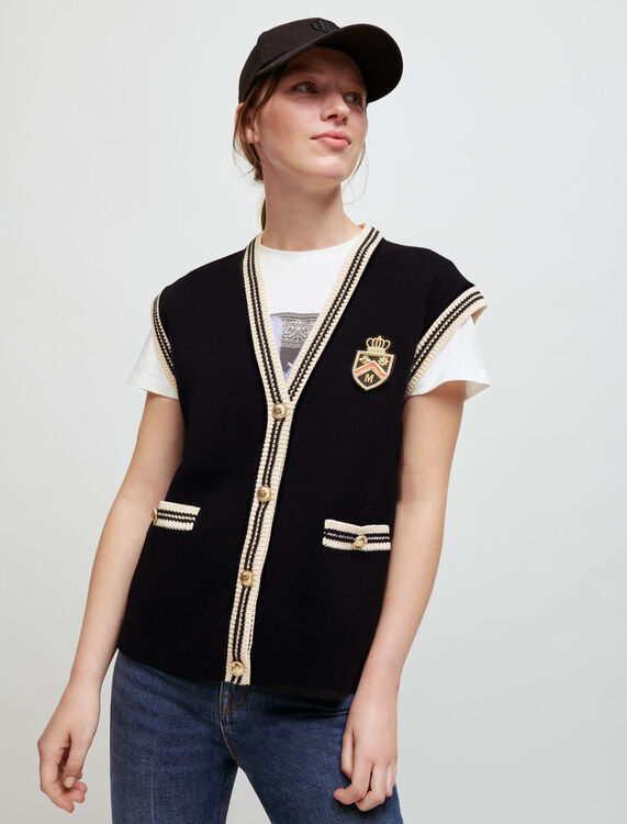 Sleeveless college-style cardigan - Pullovers & Cardigans - MAJE