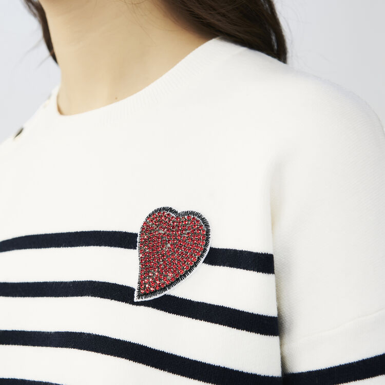 Striped cotton sweater : Knitwear color Two-Tone