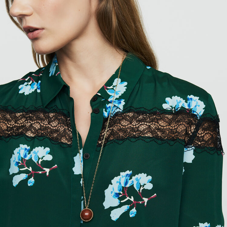 Printed blouse with lace : Shirts color