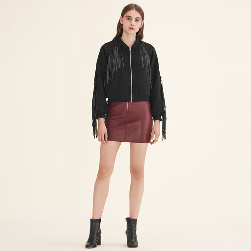 Bomber style jacket with fringing - Jackets - MAJE