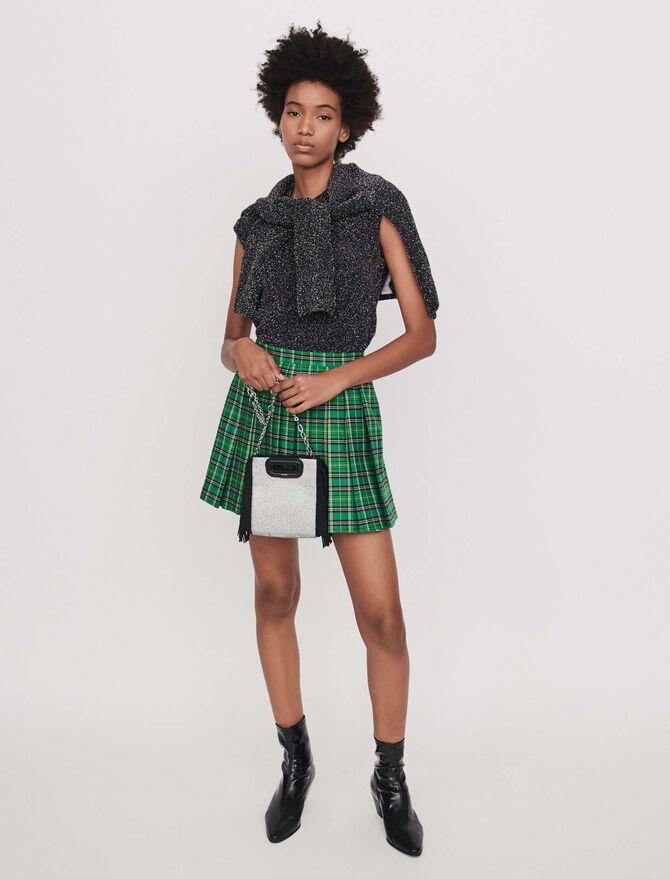 Pleated plaid trompe-l'oeil shorts - Skirts & Shorts - MAJE