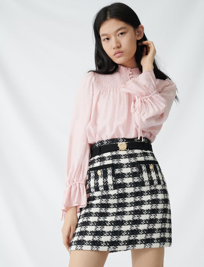 Tweed-style skirt with monogrammed belt - Skirts & Shorts - MAJE