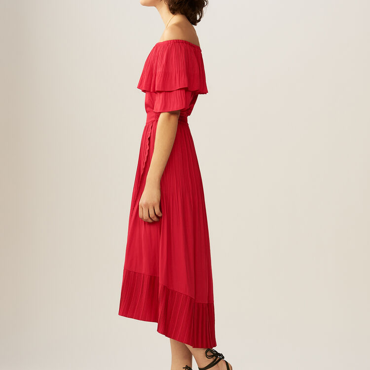 Pleated maxi wrap skirt : Skirts & Shorts color ROUGE