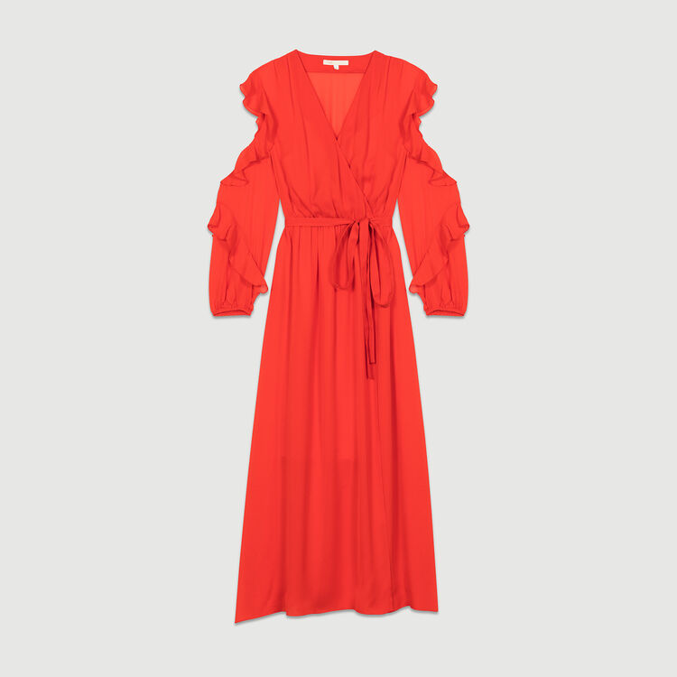 Long dress with ruffles : Dresses color ROUGE