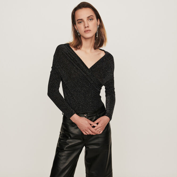 Lurex jersey long-sleeved bodysuit : T-Shirts color Multico