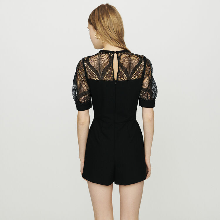 Romper in crepe and lace : Skirts & Shorts color Black 210