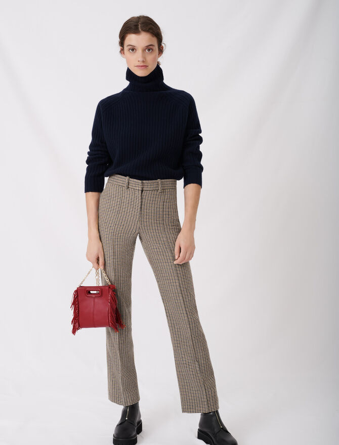 Straight cut checked trousers -  - MAJE