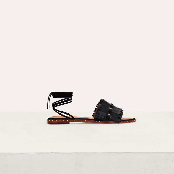 Flat sandals with ties in leather - Accessories - MAJE