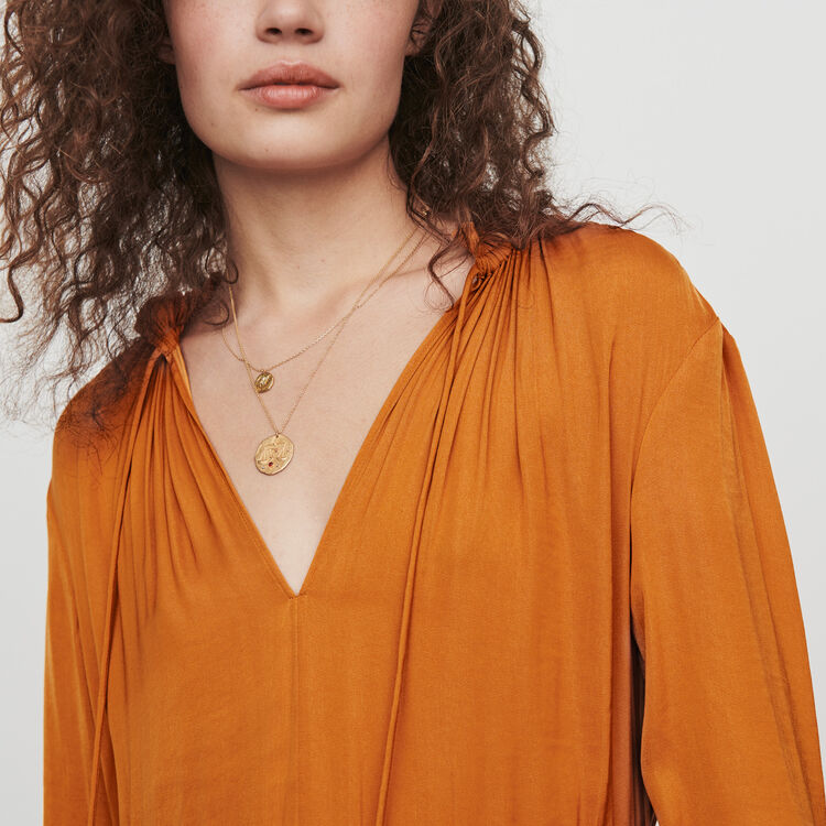 Satin drawstring dress : Dresses color Caramel